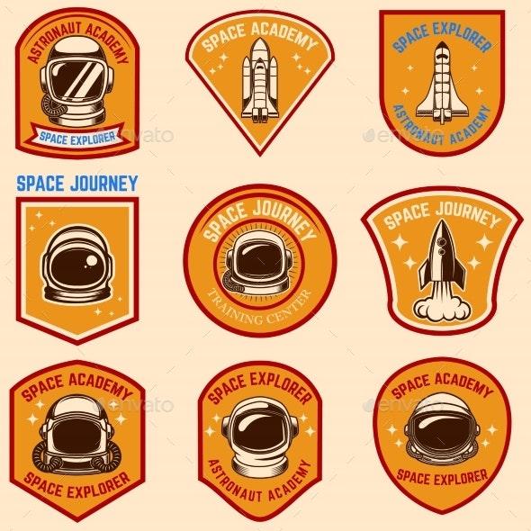 Set of Space Camp Label Templates. Design Element - Miscellaneous Vectors