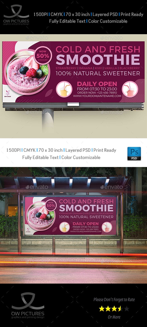 Smoothie Billboard Template - Signage Print Templates