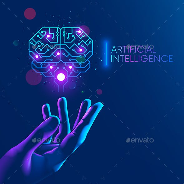 AI over hand. Artificial intelligence in shape electronic brain. Neural networks in cyberspace.