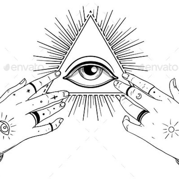 Human Hands Open Around Masonic Symbol All Seeing