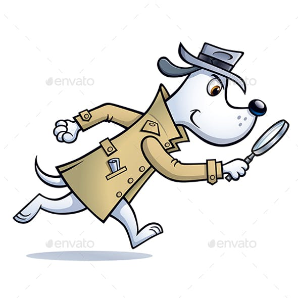 Dog Detective Looking For Clues