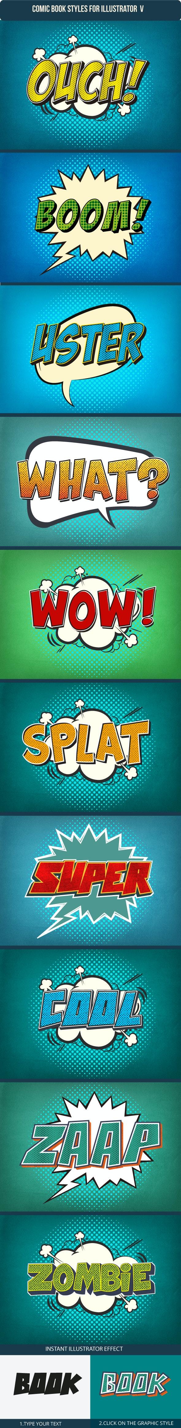 Comic Book Cartoon Text Effects V5 - Styles Illustrator