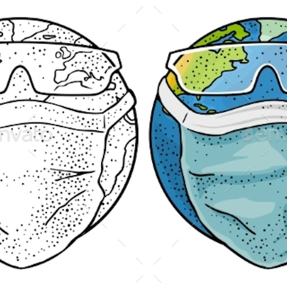 Earth Planet Dressed Medical Face Mask and Glasses