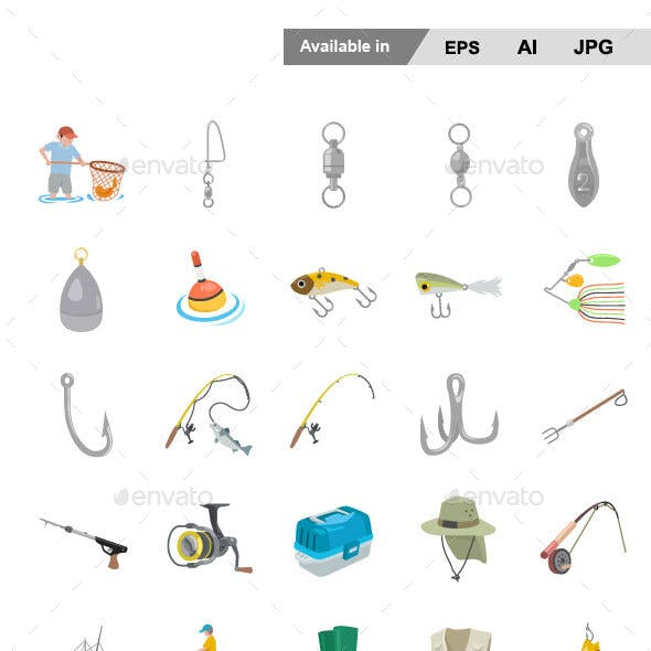 Fishing Color Vector Icons