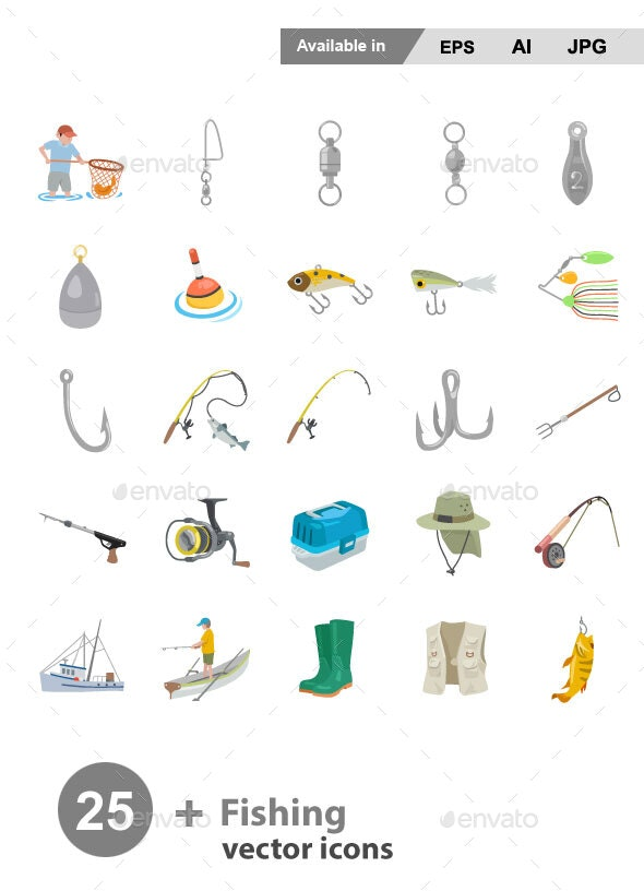 Fishing Color Vector Icons - Man-made objects Objects