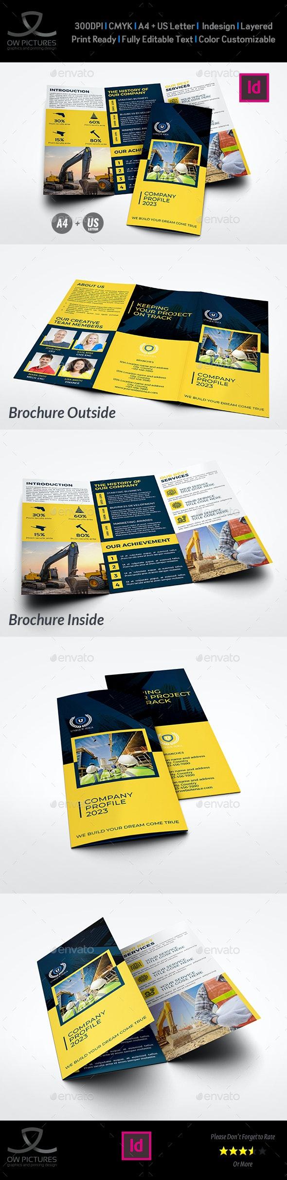 Construction Company Profile Tri-Fold Brochure Template - Brochures Print Templates