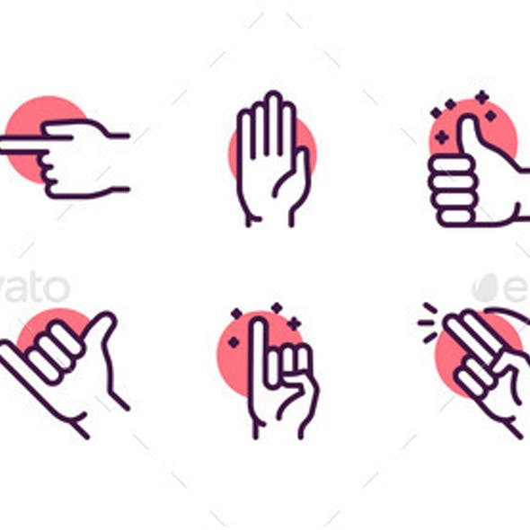 Gesture Color Linear Icon Set. Editable Stroke.