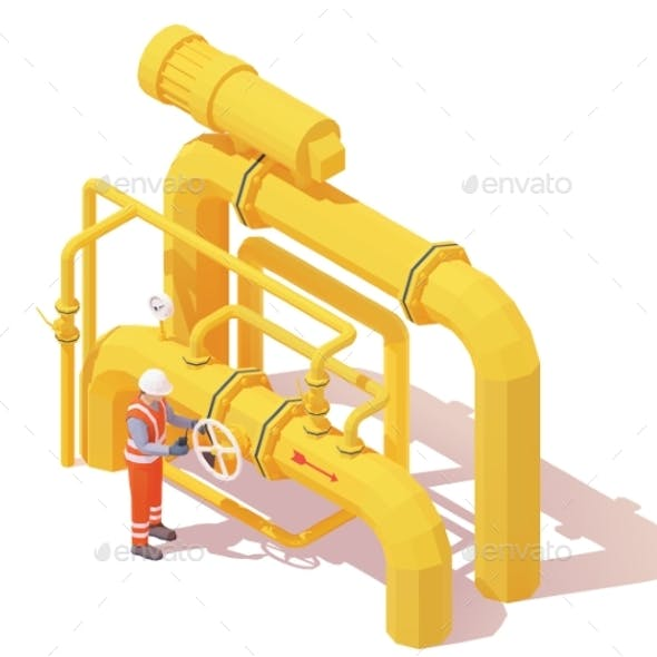 Operator Opens Gas or Oil Pipeline Valve