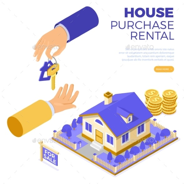 Sale Purchase Rent Mortgage House Isometric - Buildings Objects