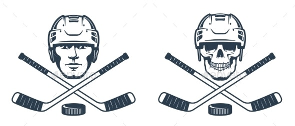 Hockey Skull Emblem with Crossed Sticks - Miscellaneous Vectors