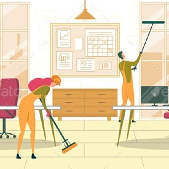 Office Cleaning Service Flat Vector Illustration