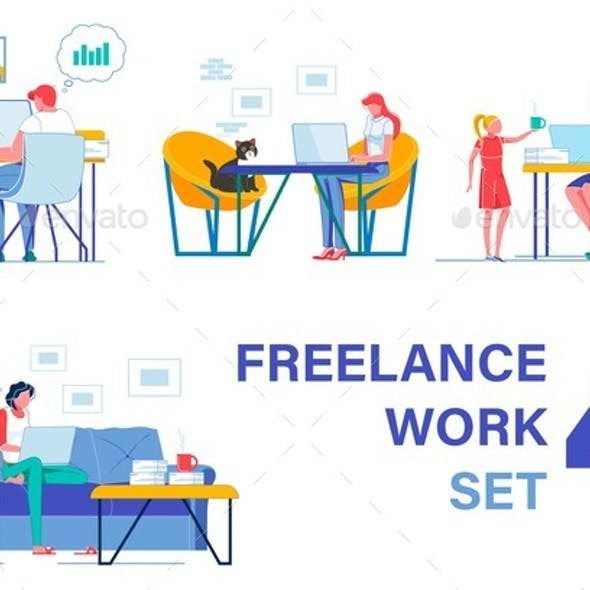 Freelancers Working From Home. Four Pieces Set