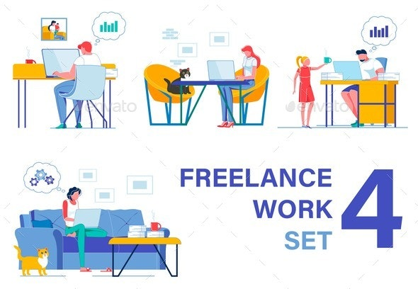 Freelancers Working From Home. Four Pieces Set - Business Conceptual
