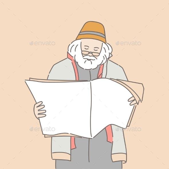Man Reading Newspaper or Magazine Vector Cartoon
