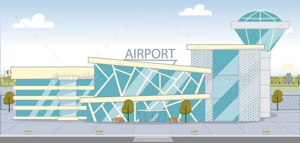 Modern Airport Building Exterior With Glass Walls By Fivestarspro Graphicriver