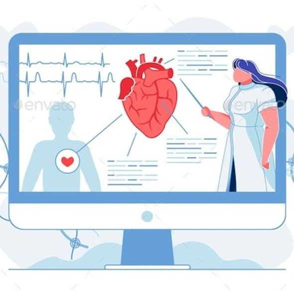 Heart Anatomy Explanation Flat Vector Illustration