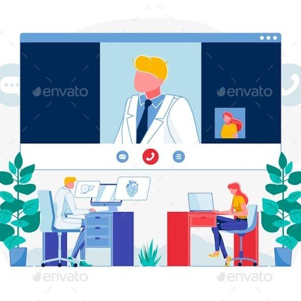 Telemedicine Videocall Techonoly Flat Illustration