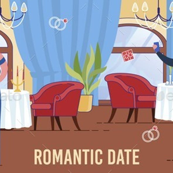 Romantic Date Scene with People in Restaurant.