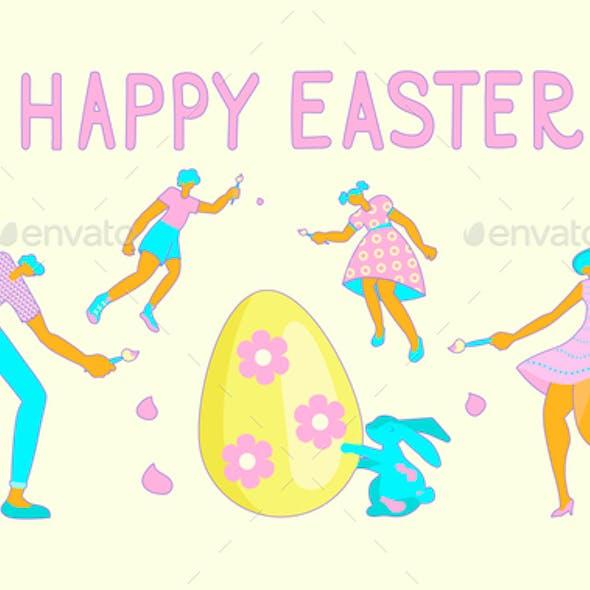 Happy Easter Scene Banner
