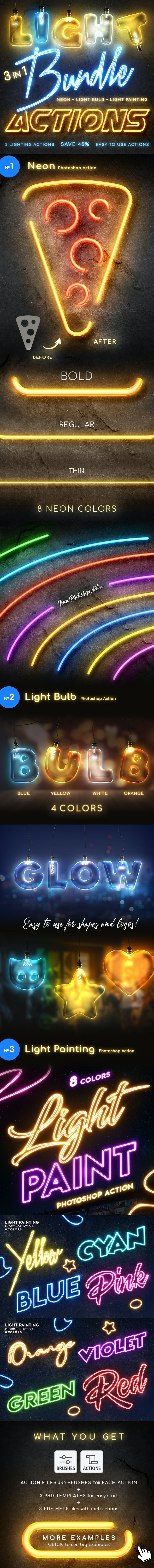 Lighting Photoshop Actions Bundle - Text Effects Actions