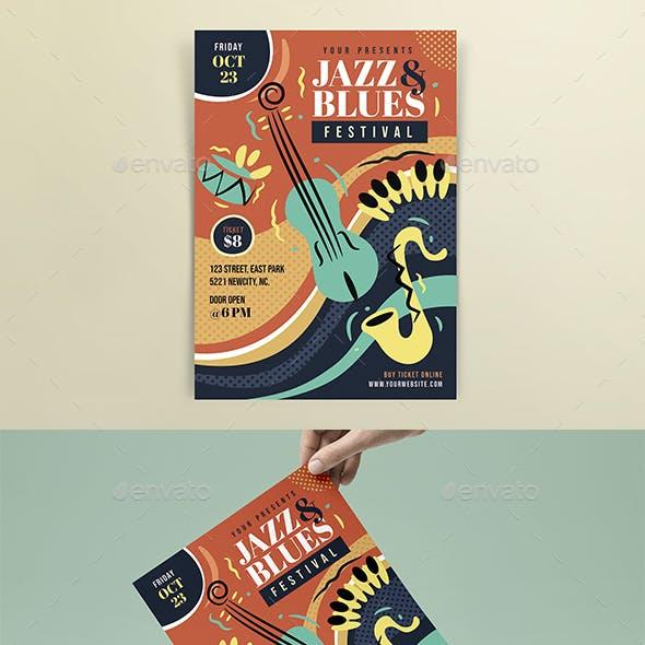 Jazz & Blues Festival PosterTemplate