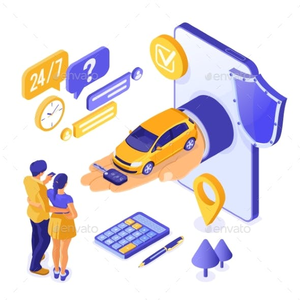 Online Sale Purchase Rental Sharing Car Isometric