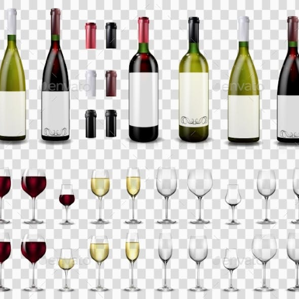 Full and Empty Wine Glasses. Red and White Wine