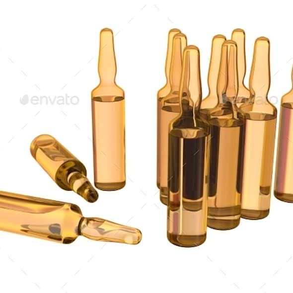 Glass Ampoules with Medicine Isolated on White. 3D