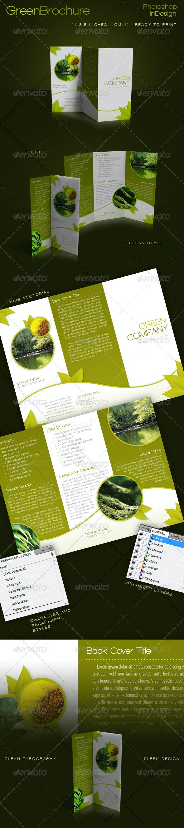 Green Trifold Brochure InDesign Template - Corporate Brochures
