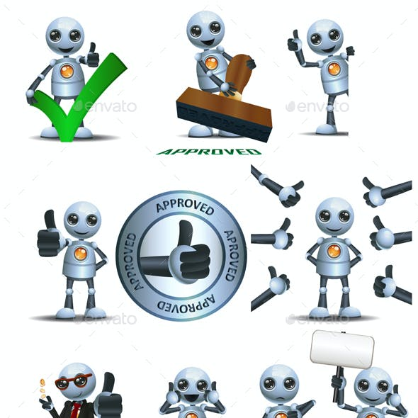 Little Robot Thumb Up of Approval
