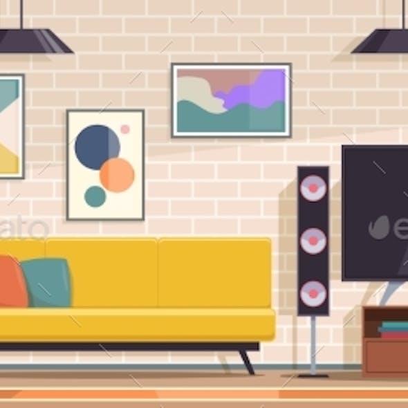 Living Room. Modern Apartment Interior
