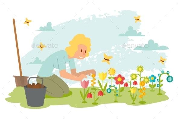 Woman Planting Flowers In Spring Garden Cartoon By Vectorssstocker