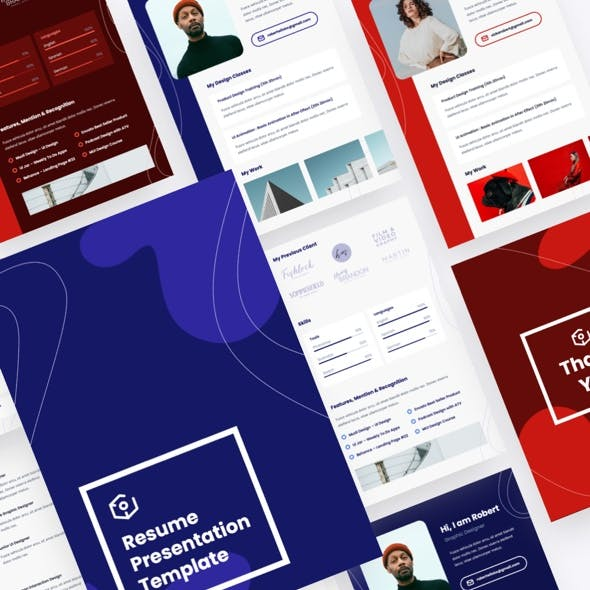 Vertical A4 Resume Powerpoint Template