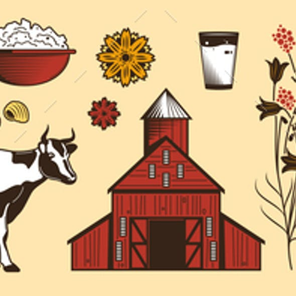 Milk Farm Color Horizontal Set