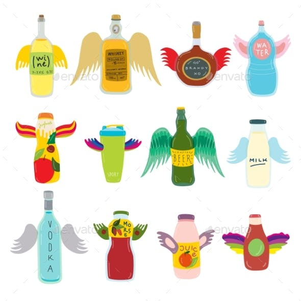 Flying Bottle with Wings for Beverage on Vector