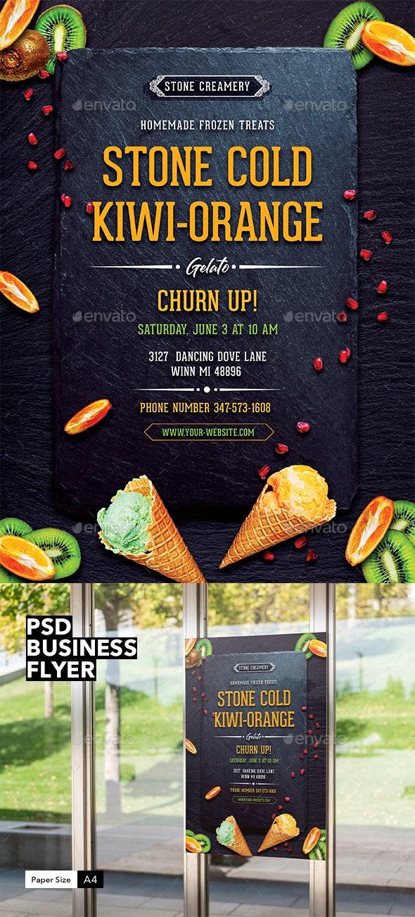 Business Flyer: Stone Cold Kiwi Orange Gelato - Restaurant Flyers