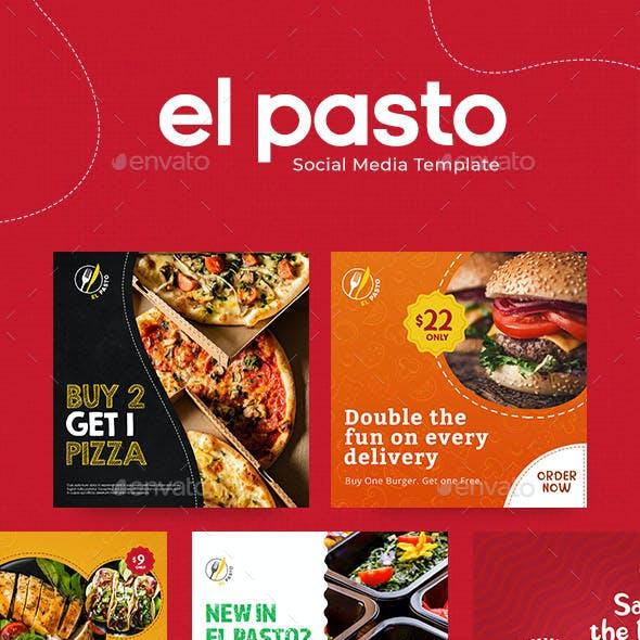 El Pasto - Pasta, Burgers and Salad - Social Media Food Set Template – Flexible and Multipurpose