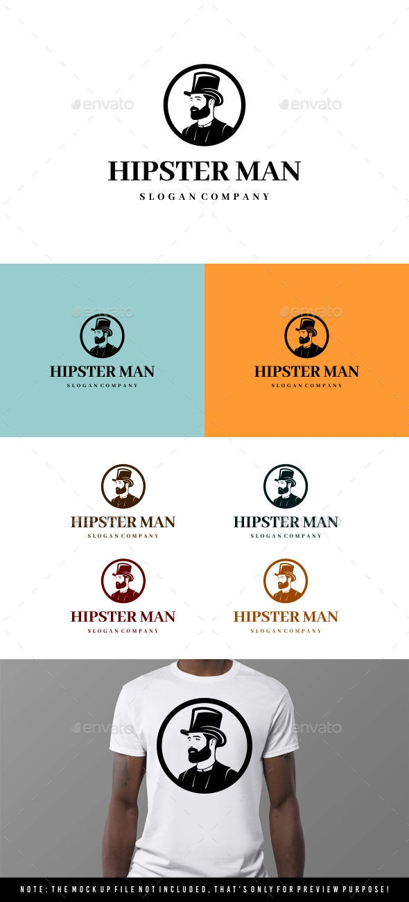 Hipsterman - Gentleman logo - Symbols Logo Templates