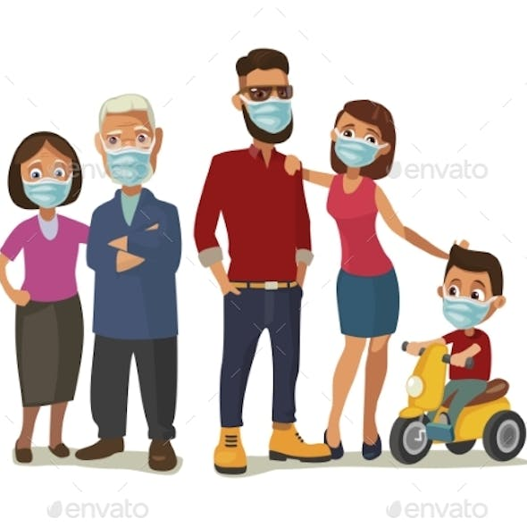Family in Blue Medical Masks. Color Flat Vector