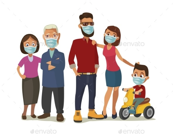 Family in Blue Medical Masks. Color Flat Vector - People Characters