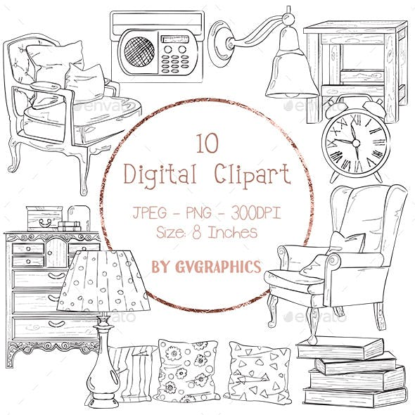 10 Home Furniture Digital Clipart, hand drawn black and white images