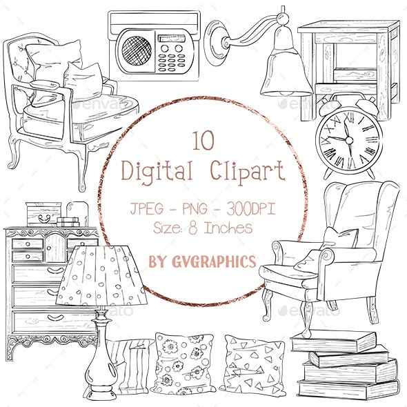 10 Home Furniture Digital Clipart, hand drawn black and white images - Objects Illustrations