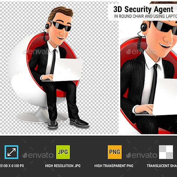 3D Security Agent Sitting in Round Chair and Using Laptop