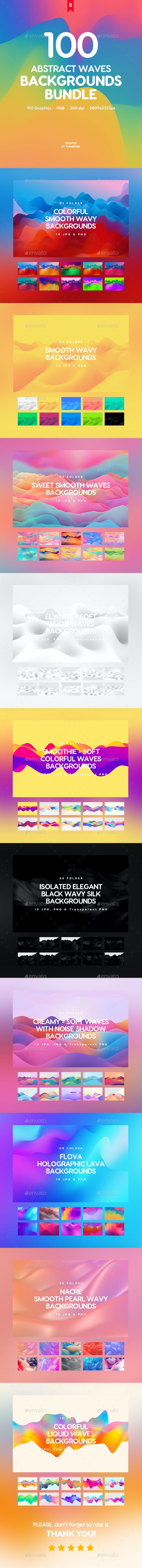 100 Abstract Waves Backgrounds Bundle - Abstract Backgrounds