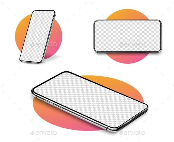 Smartphone Mockup. Realistic Cellphone with Blank - Backgrounds Decorative