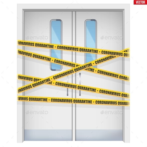 Hospital Doors with Warning Tapes.