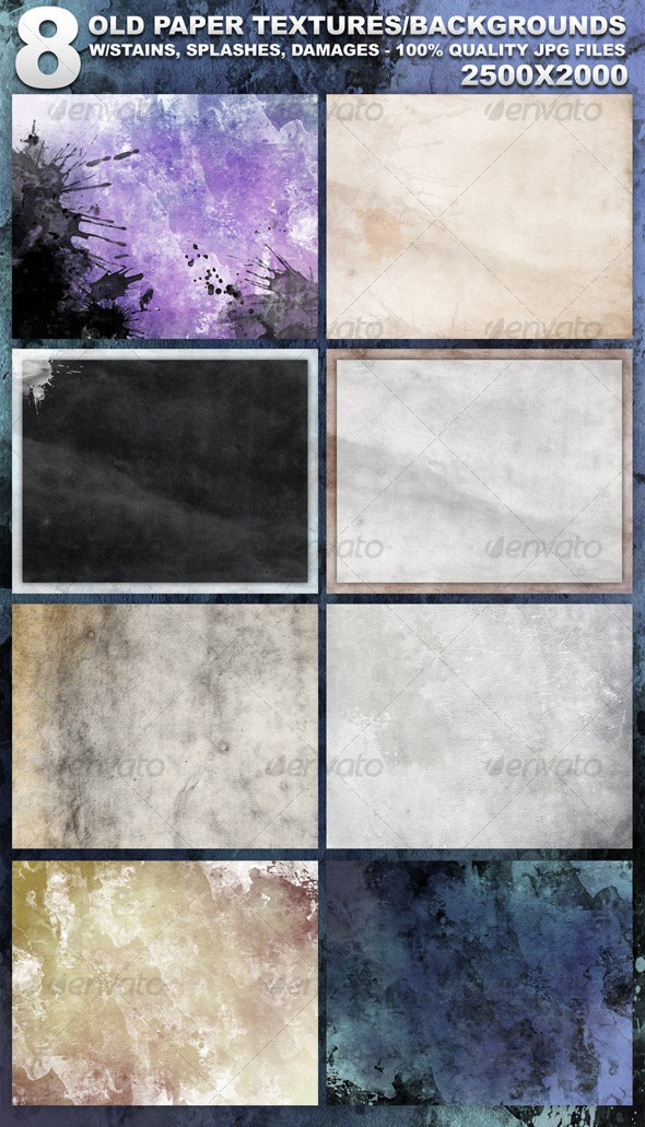 8 Old Paper Textures - Backgrounds Graphics