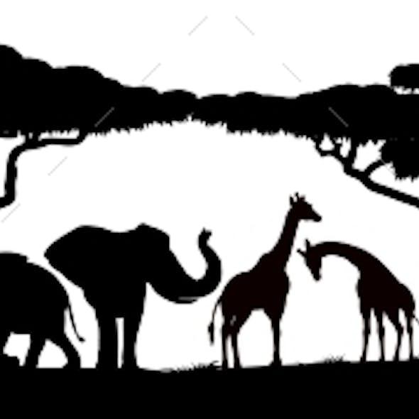 Animal Silhouettes African Safari Scene