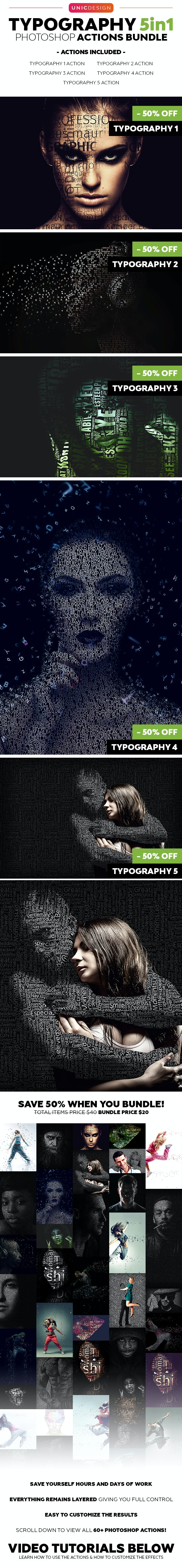 Typography 5in1 Photoshop Actions Bundle - Photo Effects Actions