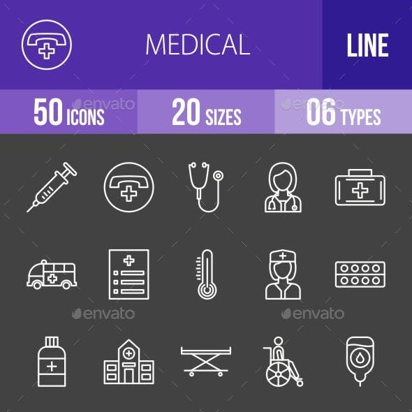 Medical Line Inverted Icons Season II